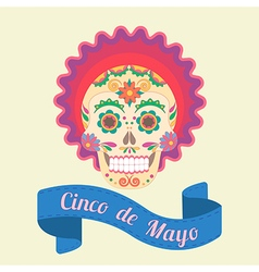 Cinco de mayo painted skull vector