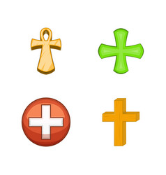 cross icon set cartoon style vector image