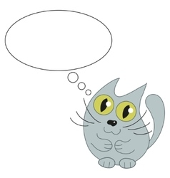 Cute cat and speech bubble for text vector image vector image
