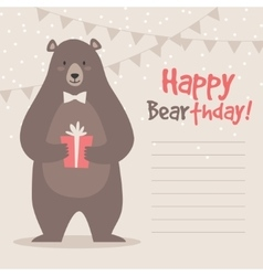 Cute funny birthday bear vector