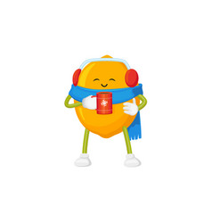 Cute lemon character drinking hot tea in winter vector