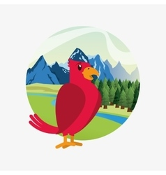 cute red bird over forest and mountains landscape vector image vector image