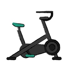 Drawing stationary bicycle machine gym sport vector