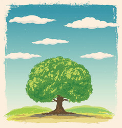 Graphic tree on a background summer landscape vector