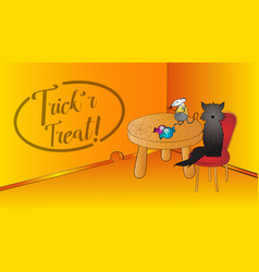 halloween funny scene with blackcat and mouse and vector image vector image
