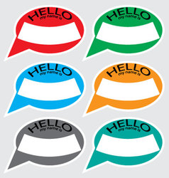 Hello my name is sticker badge set color vector