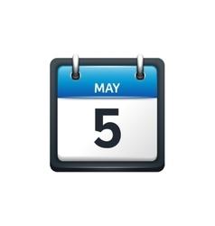 May 5 calendar icon flat vector