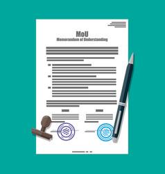 Memorandum of understanding document vector