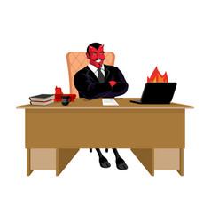 Red demon boss at job table satan leader sitting vector