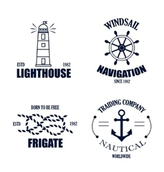 Set of vintage retro nautical badges and vector