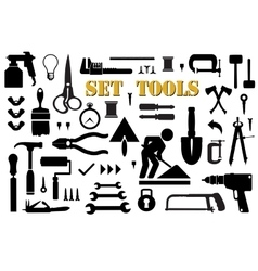 Set retro building tools vector image vector image