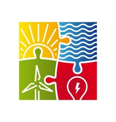 Sign of various ways to produce energy vector image