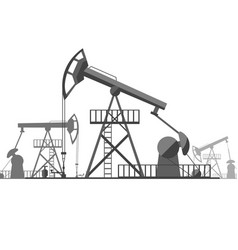 silhouette black oil derrick on background vector image