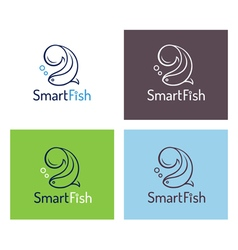 Smart fish logo template set vector image