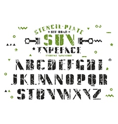 Stock set of sanserif stencil plate font vector