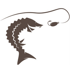 Sturgeon fish and lure design template vector
