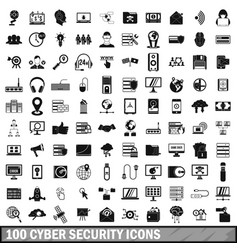 100 cyber security icons set simple style vector image vector image