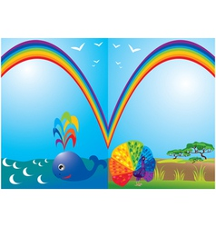 Set of frames with rainbow whale and peacock vector image