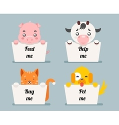 Beggar animals help cat dog pig cow cartoon flat vector