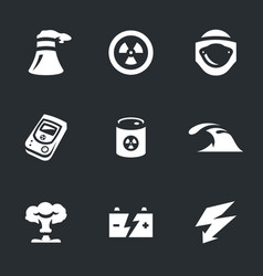 Set of nuclear power icons vector