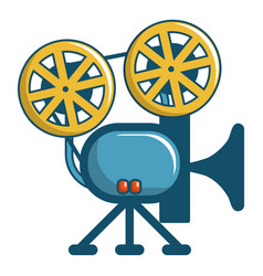 Retro cinema camera icon cartoon style vector