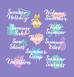 Summer travel time hand drawn quotes vector