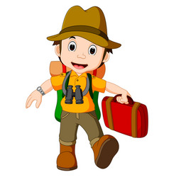 cartoon traveler with a large backpack vector image