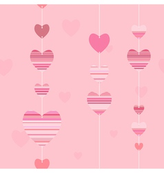 Valentine pattern with striped hearts vector