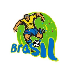 Brazil football player kicking ball retro vector