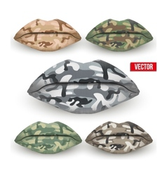 Set of beautiful lips with camo texture vector