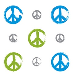 Set of hand drawn simple colorful peace icons vector