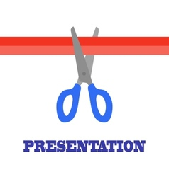 Presentation card scissors and cutting red ribbon vector