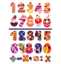 Colorful sets of numbers or digits vector