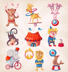 Circus animals doing tricks vector