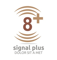 Logo signal number 8 plus brown figure wireless vector