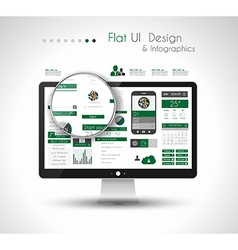 Ui flat design elements in a modern hd screen vector