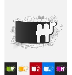 Camel paper sticker with hand drawn elements vector