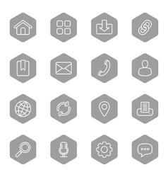 Line web icon set on gray hexagon vector
