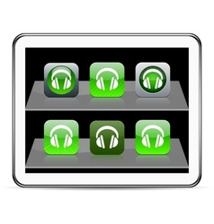 Headphones green app icons vector