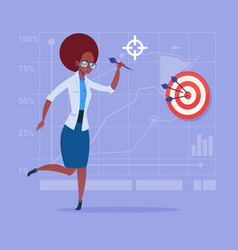 African american business woman hold arrow hit vector