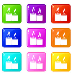 aromatic candles set 9 vector image vector image