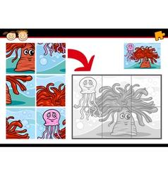 Cartoon sea life jigsaw puzzle game vector