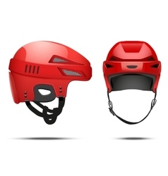 Classic red hockey helmet vector