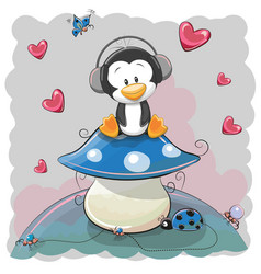 Cute cartoon penguin vector