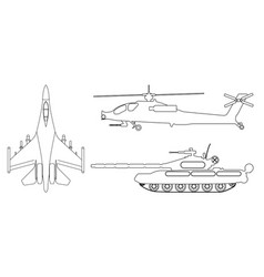 Fighter aircraft tank helicopter outline vector