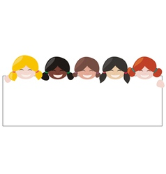 Girls with white empty banner vector image