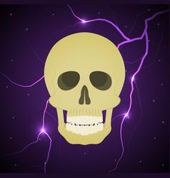 Halloween skull thunderbolt lightning background vector