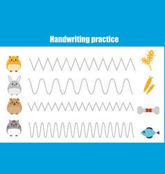 Handwriting practice sheet educational children vector