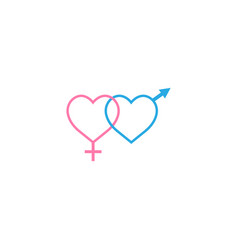 Heterosexual like hearts solid icon vector