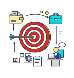 Icon Flat Style Design Goal Setting vector image vector image